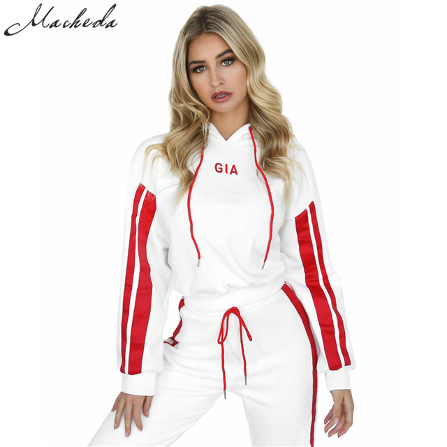 2 Piece Set Women Tracksuit Sportswear Casual White Red Sweat Pants Hooded Cropped Sweatshirt Hoodie 1