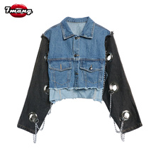7mang 2017 autumn women street stage punk hole chain jeans jacket long sleeve party cool heavy loose short denim bomber jacket