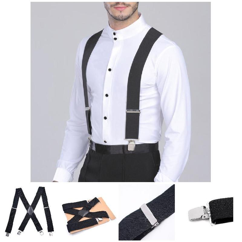 50mm Wide Elastic Adjustable Men Trouser Braces Suspenders X Shape With Strong Metal Clips KA-BEST