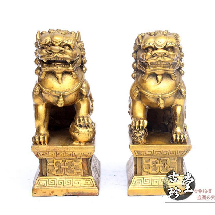 Chinese FengShui brass Copper Evil Door Guardian Foo Dog Lion beast statue Pair