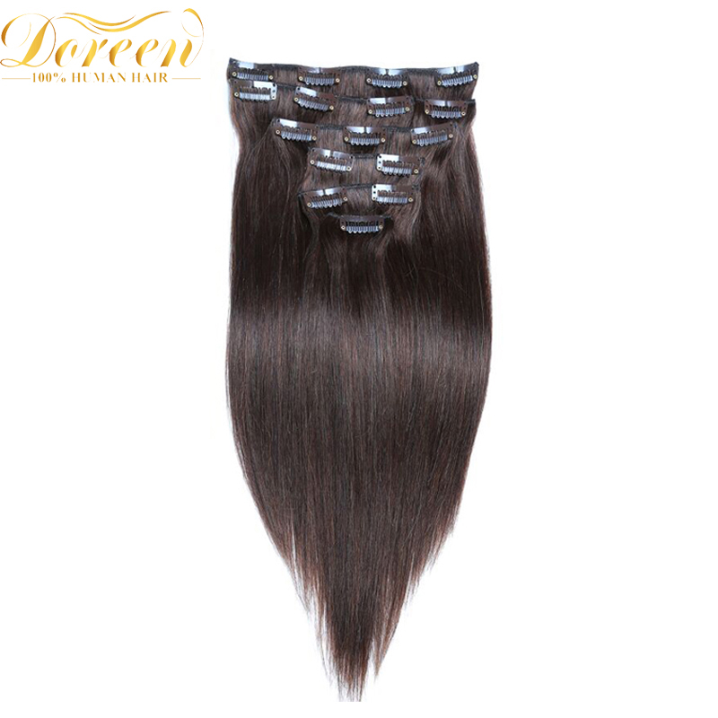 Doreen #1 #1b #2 Natural Straight Malaysia Remy Hair 16-22 Inch Full Head Set 100G Double Weft Clip In Human Hair Extensions