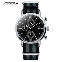 SINOBI Mens Relógios Moda Militar Cronógrafo Cinta NATO Nylon Pulseira Top de Luxo Da Marca Homens relógio de Quartzo Relógio de James Bond 007