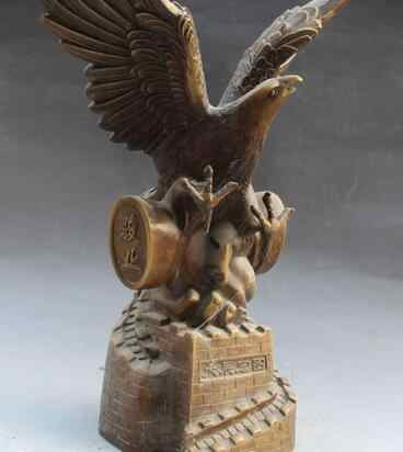 """19 """"Chinois Folk Classique Bronze paix aigle faucon faucon roi des oiseaux Statue rapide"""