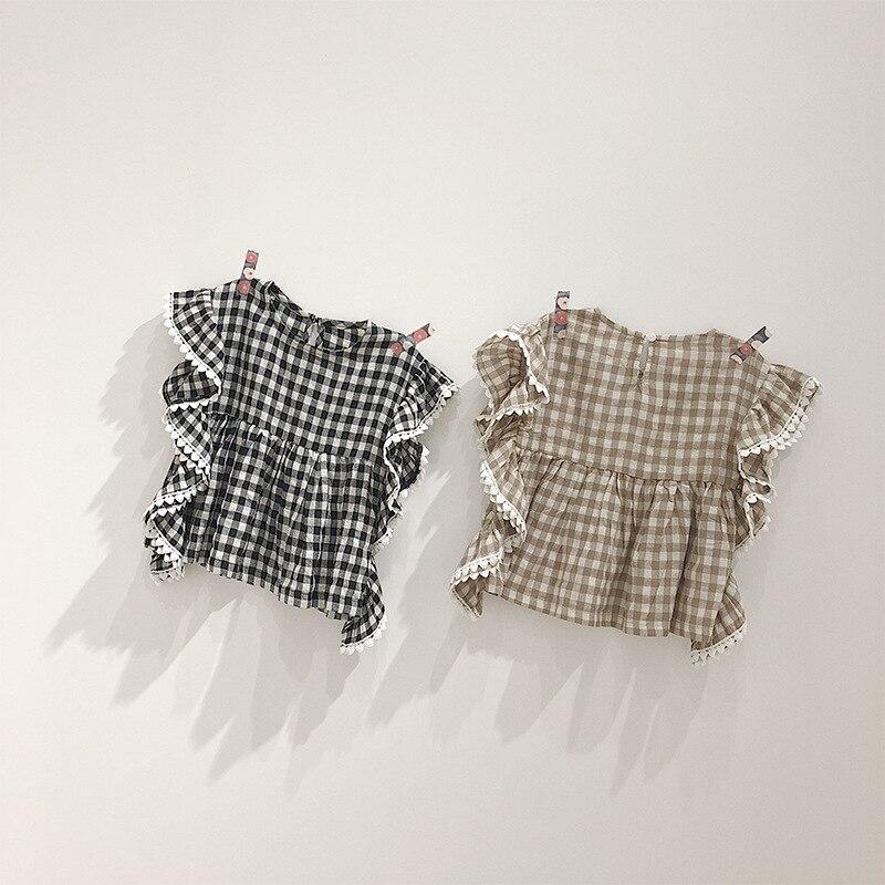 100% Wahr 2019 Sommer Kinder Kleidung Spitze Rüschen Baby Mädchen Plaid Blusen Baumwolle Leinen Shirts Koreanische Stil Kinder Tops Neueste Mode