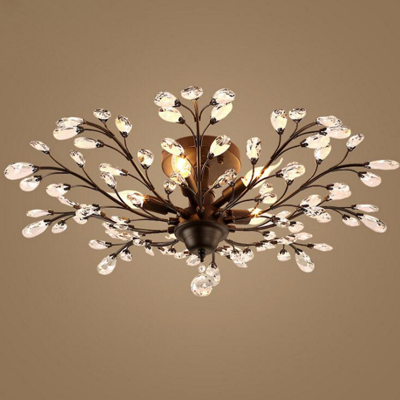 Wrought iron crystal ceiling lamp lighting restaurant lamps creative personality branches bedroom den living room retro LED lamp jane european pastoral creative lighting restaurant lamp bedroom balcony living room ceiling lighting hanging iron