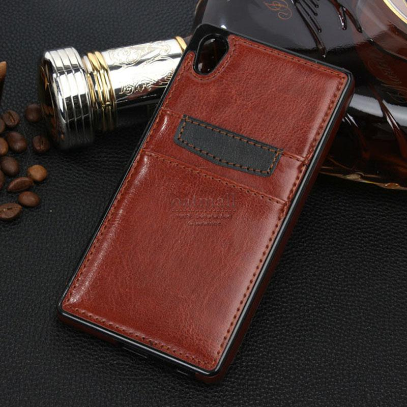 Business Style PU leather With Card Bag Capa For Sony xperia z5 Compact Case Fun