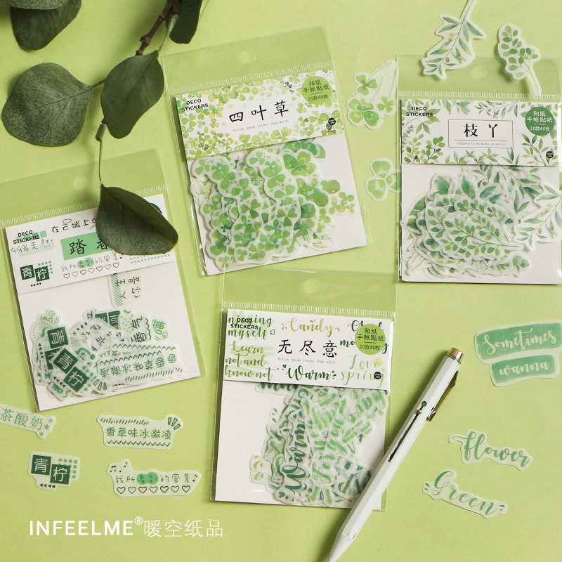 40pcs/pack Stationery Stickers Kawaii Four-leaf Clover  Diary Planner Decorative Mobile Stickers DIY Craft Scrapbooking Stickers