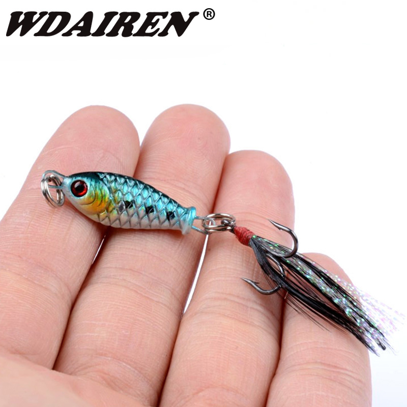 1Pcs Metal VIB Fishing Lures Lead Fish 3cm 4.8g Winter Wobblers Artificial Fishing Baits Tackle With Feather Hook For All Pesca