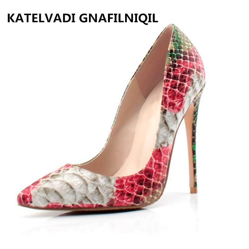 Woman Party Shoes Women High Heels Snake Printed Shoes Pumps Lady Sexy Pointed Toe Wedding Shoes 12CM High Heels Shoes FS-0102 sexy women pumps transparent pointed toe high heels shoes woman party wedding leather shoes lady office shoes stiletto xk030105
