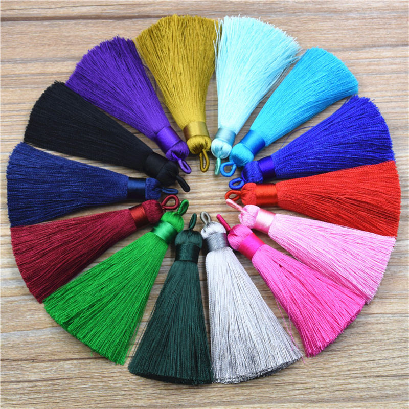8cm Handmade Blue Black Red Pink Silk Tassel for Jewelry Making Findings Components DIY Earrings Key Chain Accessories