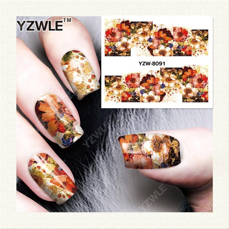 YZWLE 1 Листов DIY Ногтей Искусство Имеет Дело Вода Трансферная Печать Наклейки Аксессуары Для Маникюра Салона YZW-8091