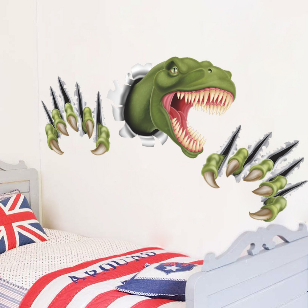 new creative dinosaur through wall stickers for kids room bedroom decor  cartoon animal home decal
