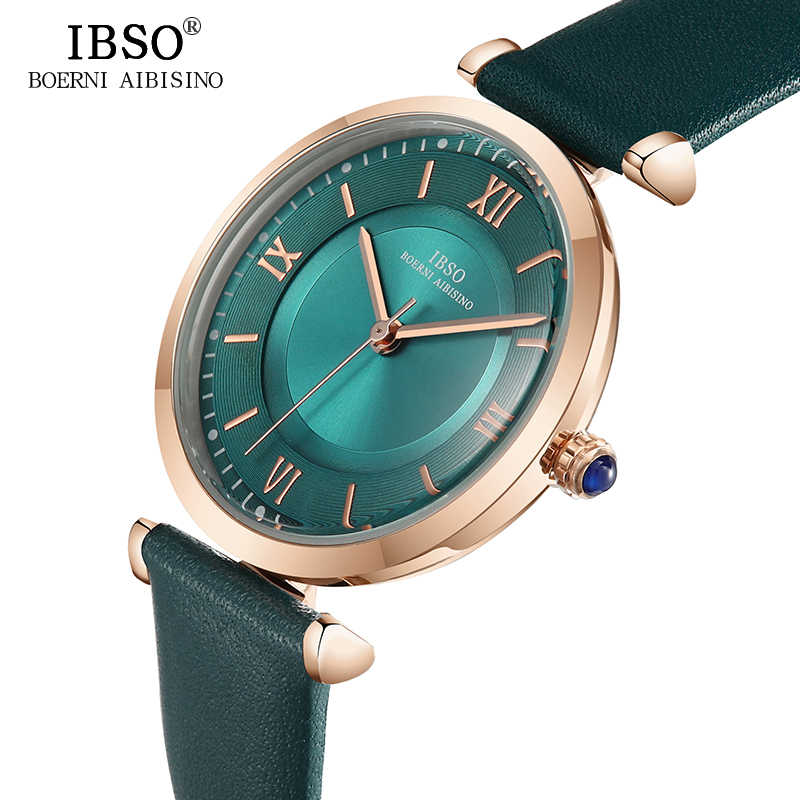 68d4912bd ... IBSO New Brand Women Watches 2018 Green Genuine Leather Strap Reloj  Mujer Luxury Quartz Ladies Watch ...