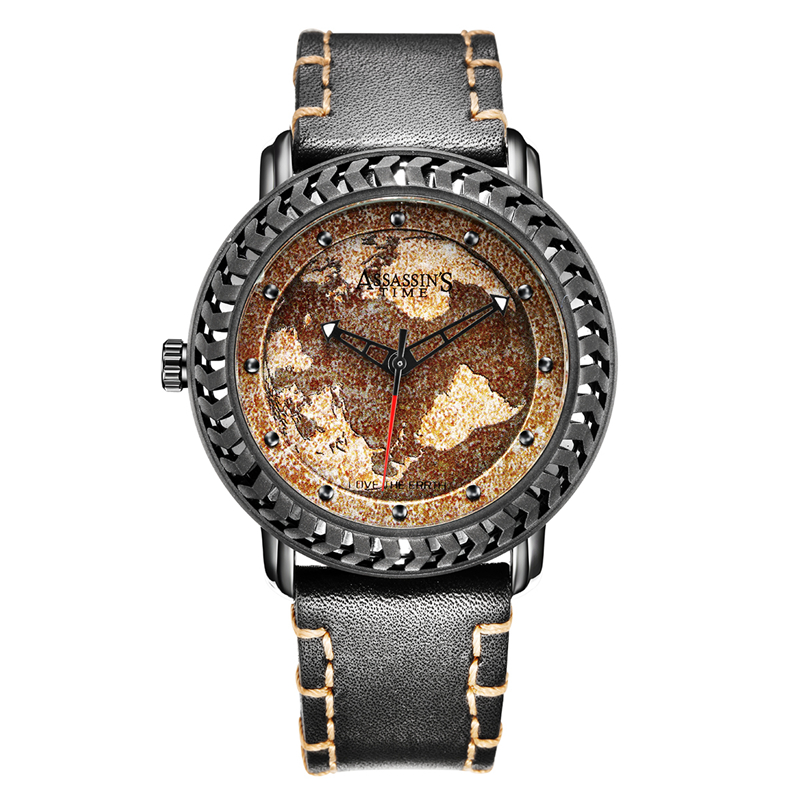 Assassin's Time Men's Watch Japan Quartz Homme Hours Love Earth World Map Fine Fashion Clock Genuine Leather Boy's Birthday Gift faux leather world map quartz watch