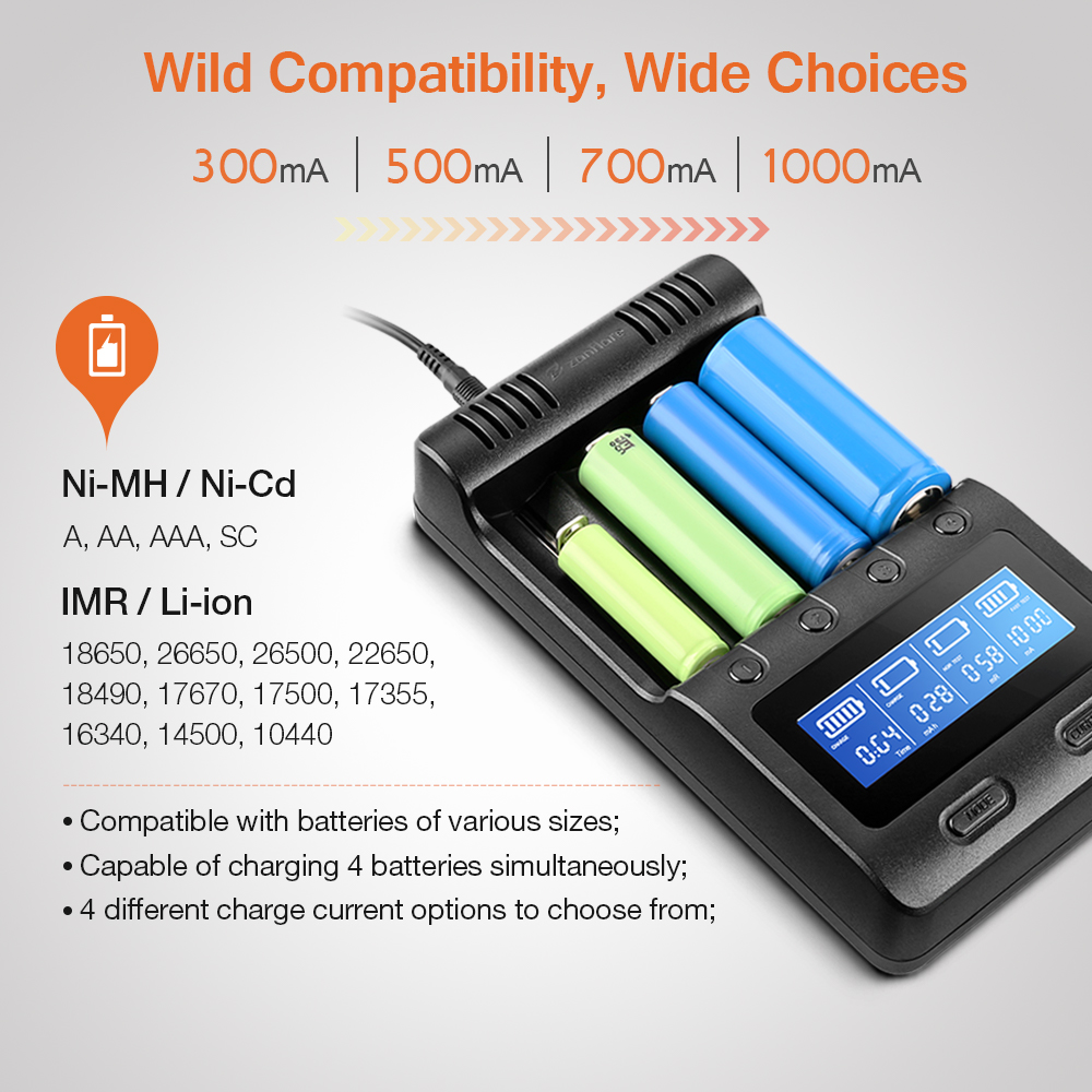 Zanflare C4 Multifuncional Carregador de Bateria Plug UE Com 4 4 Slots Carregador Ajustável Carregador de Carro de Carregamento Portátil Display LCD