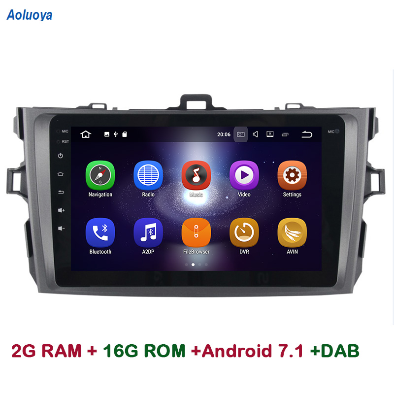 Aoluoya 2GB RAM Quad Core Android 7.1 CAR DVD GPS Navigation For Toyota Corolla 2007 2008 2009 2010 2011 2012 Radio multimedia