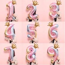 SHINY EYES 2Pcs 32Inch Rainbow Unicorn Number Balloons For Birthday Party Decorations