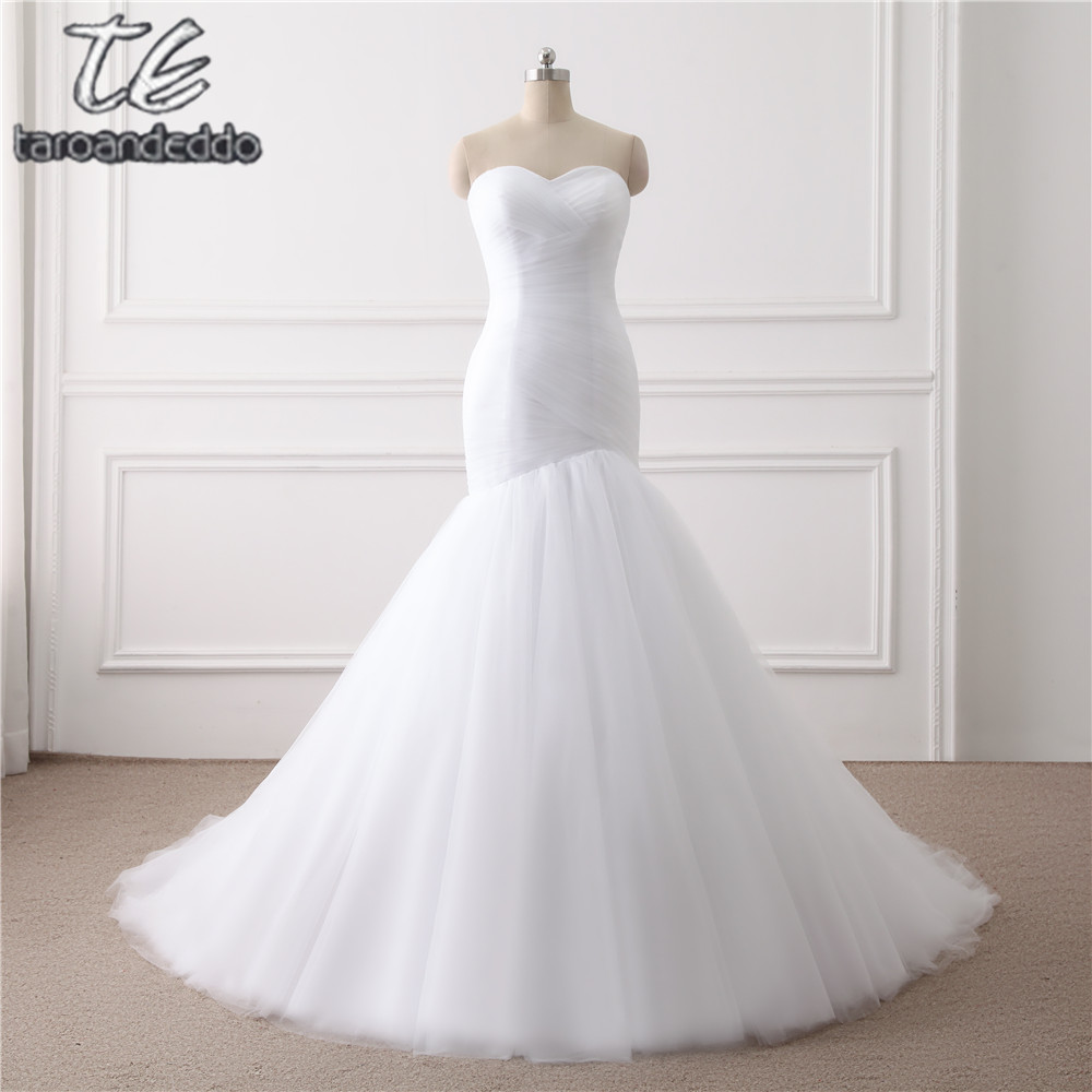 New Arrival Ruched Tulle Mermaid Wedding Dress Lace Up White Ivory Marry Dresses Bridal Dresses Hot