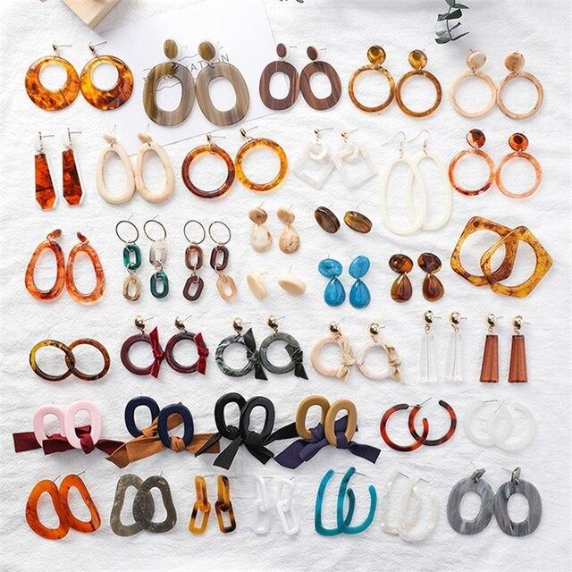 4*2018 Korean vintage leopard circle ring ladies earrings Acrylic acetate acetate geometric earrings temperament large earrings