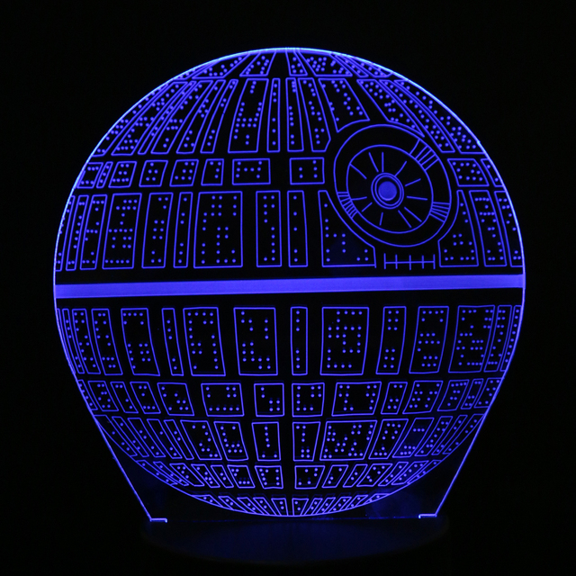Creative 3D Novelty Light Star Wars Death Star 7 Colors Changing LED Lamp Home Desk Decoration Light Kids Gift Toy FULI