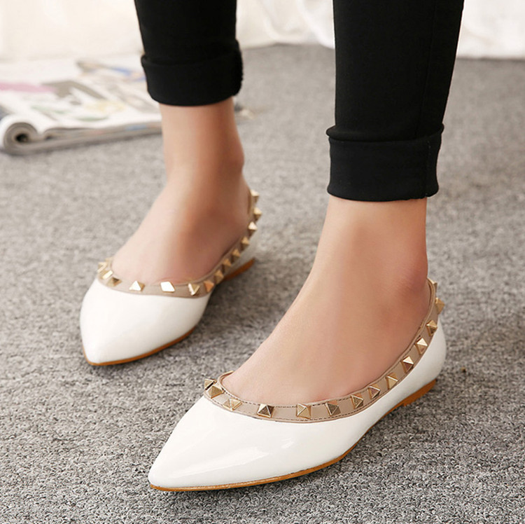 9abdc793066 A New rivets women flats loafers shoes summer poinetd toe fashion slips  women genuine leather flat shoes ladies casual shoes-in Women s Flats from  Shoes on ...