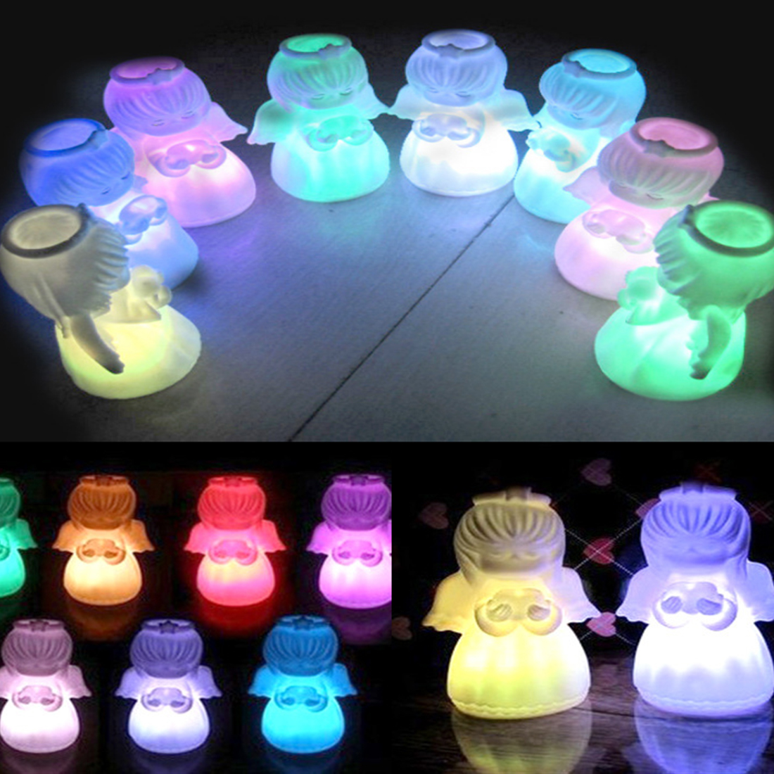 Angel Night Light Energy Saving LED Lamp Romantic LED Colorful Changing Villain Lights