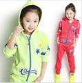 New 2016 Autumn Childrens Clothing Sets Kids Girls Korean Clothes Set Child Star Sports Suits Big Girl Tops + Pants 2 Suit Piece