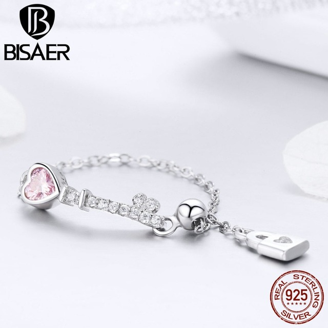 BISAER 925 Sterling Silver Key of Love Lock Rings for Women Long Chain Pink CZ Finger Ring Wedding Silver Ring Jewelry ECR425