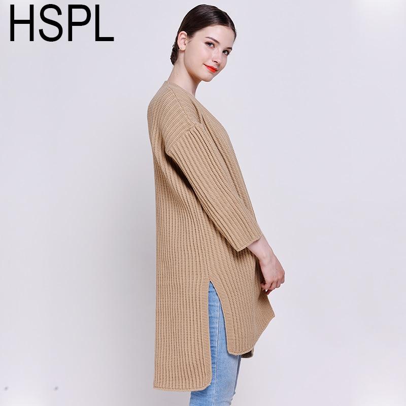 HSPL Striped  Cardigans Feminino 2017 Autumn Oversized Camel Knit long Women Split Cardigan Long Sleeve Fashion Stylish Jumper