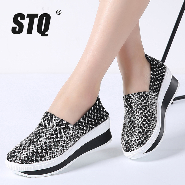 STQ 2020 Summer Women Platform Shoes Women Slip On Casual Woven Platform Sneakers Shoes Laides Wedge Sneakers Footwear 755