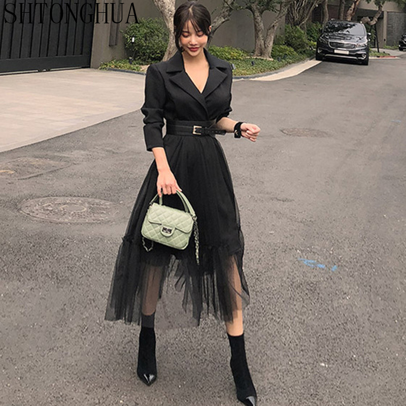 SHTONGHUA 2019 Spring HIGH QUALITY Sexy Patchwork Dress Women Notched Neck Mesh Waist Dresses Long Swing