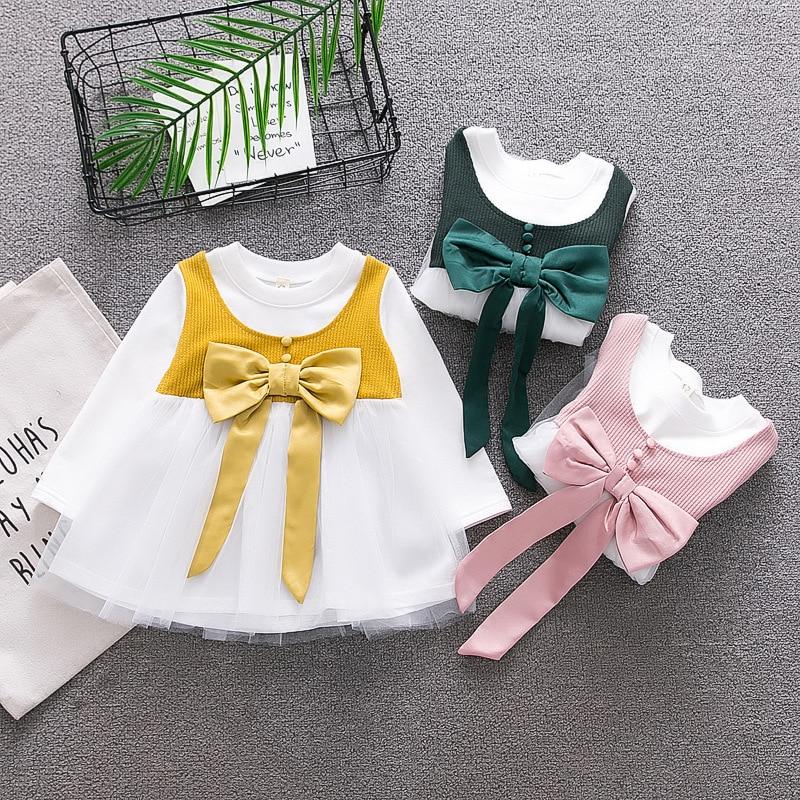 2018 Promotion Hot Sale Patchwork Cotton Casual Full Regular Baby Dress Vestido Infantil Spring Girls 0-3 Infant Princess Dress