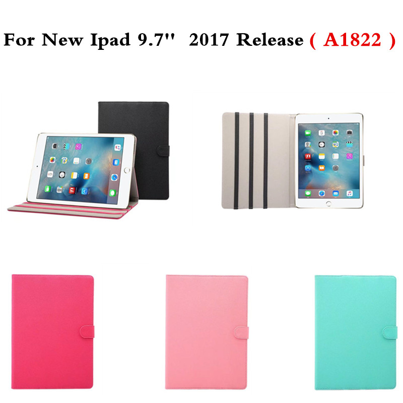 PU Leather Protective Cover Smart Sleep Wake Up Folio Flip Stand Holder  For New Ipad 9.7 Inch 2017 Release A1822 Model Case case cover for kindle paperwhite 123 ebook pu leather folio flip smart sleep wake up protective case cover vintage texture