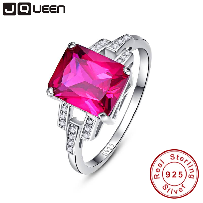 JQUEEN Vintage Garnet Ruby Red Stone S925 Silver Ring Opened Size 100% Pure 925 Sterling Silver Rings for women Jewelry