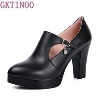 Primavera y otoño gruesos zapatos de tacón alto de la moda de las mujeres de las mujeres zapatos de cuero genuino primera capa de piel de vaca plataforma bombas