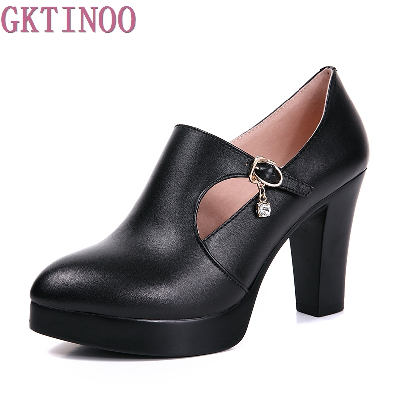 spring and autumn women's shoes thick high heels fashion women genuine leather shoes first layer of cowhide platform pumps