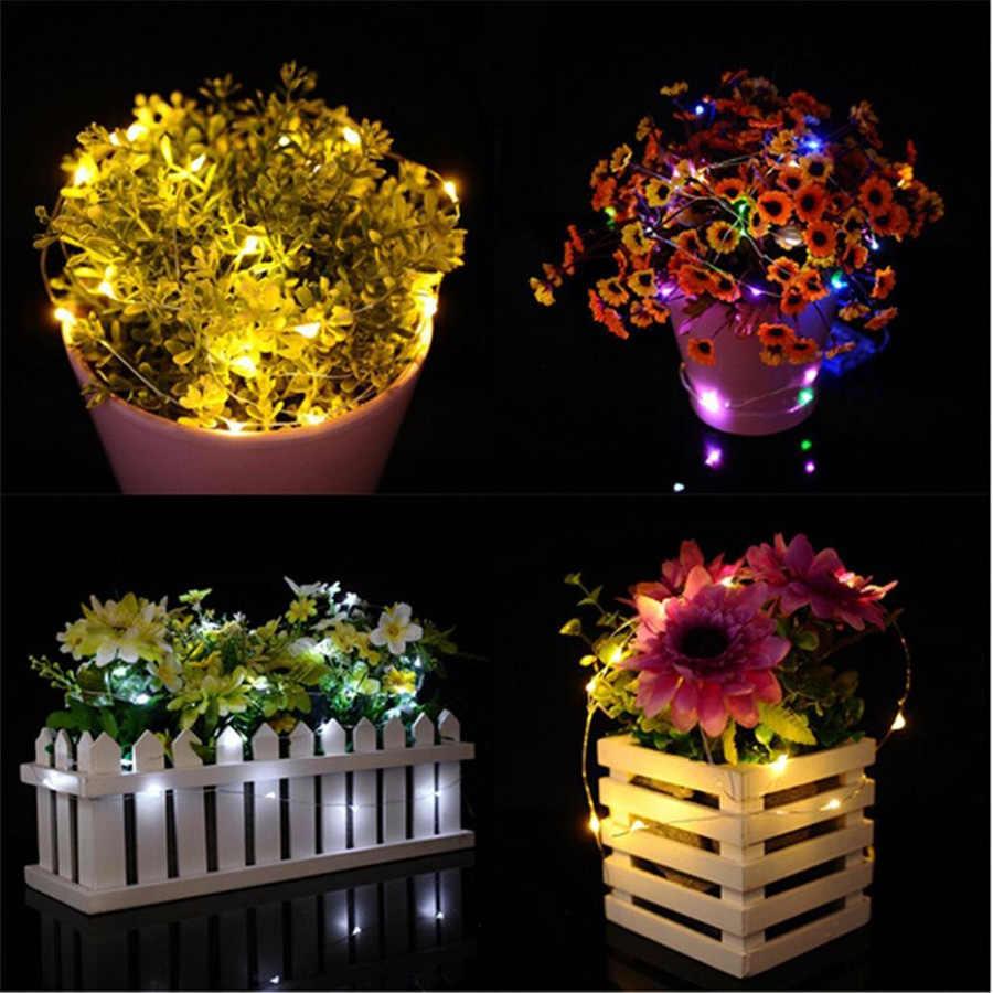 Sxzm 2M 20 LED Peri Lampu CR2032 Dioperasikan LED Kawat Tembaga String Lampu untuk Xmas Garland Pesta Pernikahan dekorasi Rumah