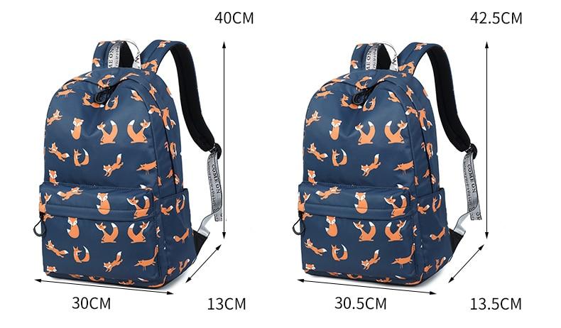 WINNER Cute Animal Fox Printing School Backpacks Waterproof Women Bag Laptop Backpack Female Mochila Bolsas E Sacolas (5)
