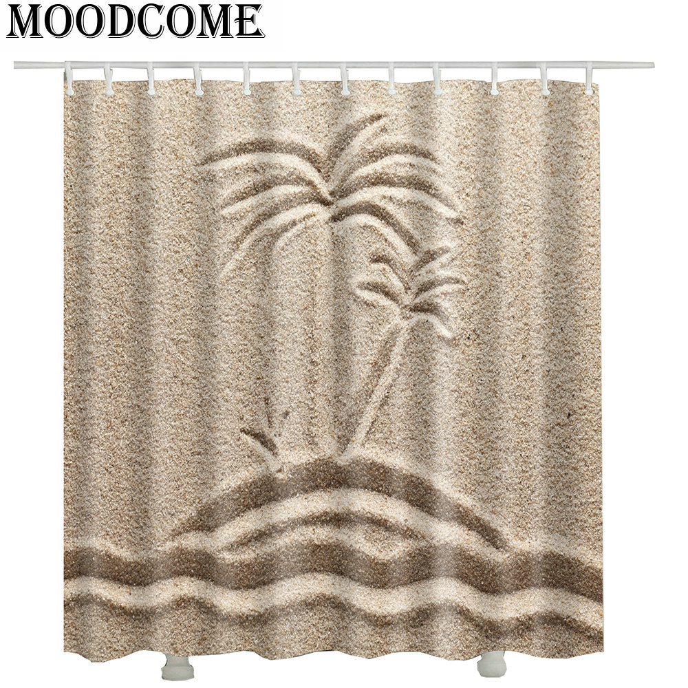 sand beach coconut tree shower curtains fabric new arrival drop shipping japanese bathroom curtains waterproof