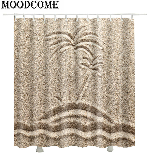 Sand Beach Coconut Tree Shower Curtains Fabric New Arrival Drop Shipping Japanese Bathroom Waterproof