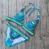 Bohemian Triangle Bikini Brazilian Blue Floral Print Swimwear Women 2017 Thick Swimsuit Girl Bandage Secret Sexy