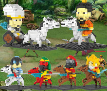 Three blocks small particles of diamond Zhao Yun, Guan Yu and Zhang Fei Huang Liu Bei fight inserted toys