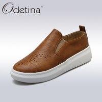 Odetina 2016 Autumn Handmand Large Size Breathable Soft Leather Shoes Flat Casual Platform Loafers Women Slip