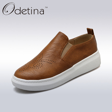 Odetina 2017 Spring Handmade Large Size Casual Platform Loafers Women Slip on Breathable Soft Leather Boat Shoes Retro Flats