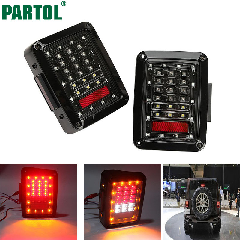 Partol Car Integrated LED Tail Light Running Brake Light Reverse Backup Turn Signals Euro Version For Jeep Wrangler JK 2007-2015 for vw volkswagen polo mk5 6r hatchback 2010 2015 car rear lights covers led drl turn signals brake reverse tail decoration