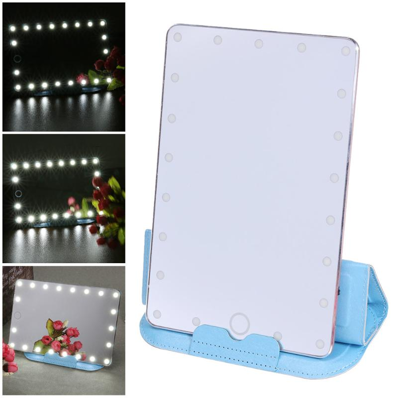 LED Touch Screen Makeup Mirror USB Charging Adjustable Dimming Cosmetic Mirror 21 LED Lights Make up Mirror touch screen led makeup mirror light usb