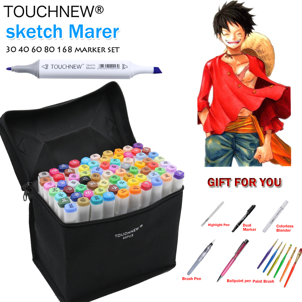 TOUCHNEW 168 Colors Artist Painting Manga Art Marker Pen Head Alcohol Art Sketch Graffiti Fineliner Markers Set Markers Designer touchnew 7th 30 40 60 80 colors artist dual head art marker set sketch marker pen for designers drawing manga art supplie