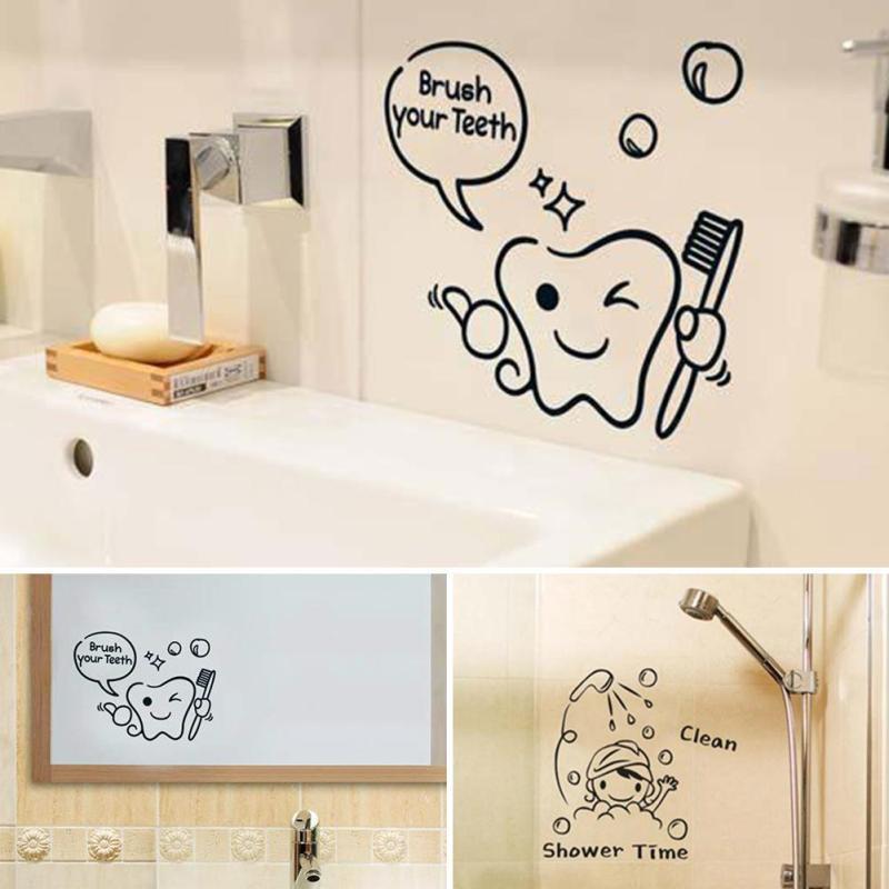 1 pz carino adesivi murali piastrelle del bagno del fumetto smontabile lettera motivo bagno pennello bagno