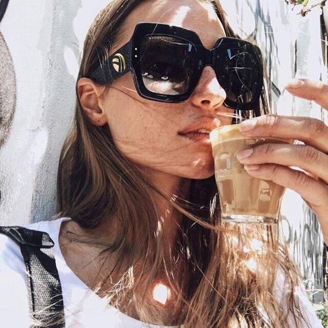 HBK Новый Солнцезащитные очки для женщин-Для женщин негабаритных квадратные Солнцезащитные очки для женщин Для женщин Мода Защита от солнца Очки леди Брендовая Дизайнерская обувь Винтаж оттенки Gafas Óculos