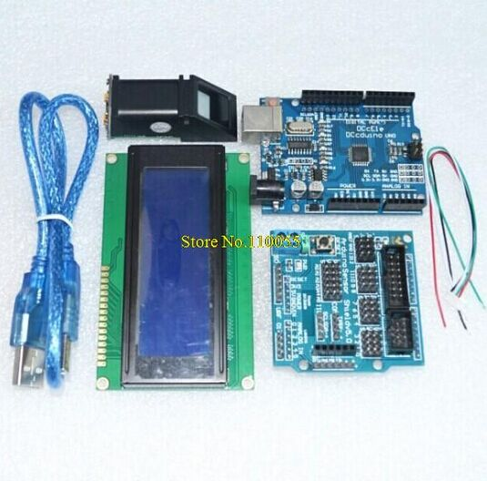 Free shipping! Fingerprint Module for arduino kit Optical fingerprint sensor + UNO R3 + V5.0 shield + LCD 2004 bule screen r303 capacitive fingerprint reader module sensor scanner for arduino